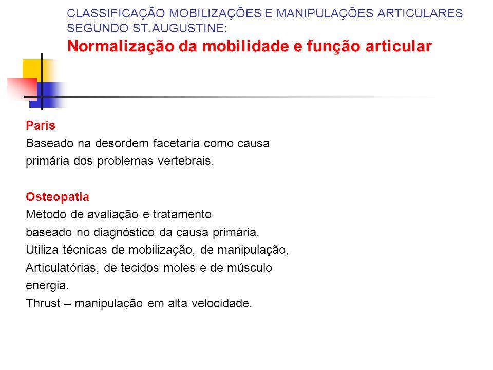 CLASSIFICAÇÃO MOBILIZAÇÕES E MANIPULAÇÕES ARTICULARES SEGUNDO ST.AUGUSTINE: Normalização da mobilidade e função articular Paris Baseado na desordem fa