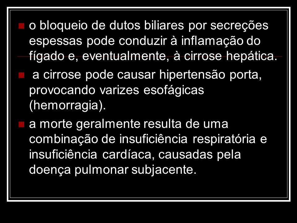 o bloqueio de dutos biliares por secreções espessas pode conduzir à inflamação do fígado e, eventualmente, à cirrose hepática. a cirrose pode causar h