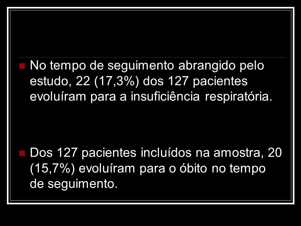 No tempo de seguimento abrangido pelo estudo, 22 (17,3%) dos 127 pacientes evoluíram para a insuficiência respiratória. Dos 127 pacientes incluídos na
