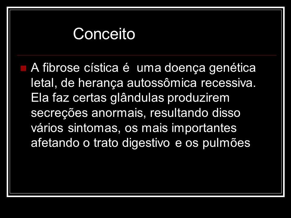 A fibrose cística é uma doença genética letal, de herança autossômica recessiva. Ela faz certas glândulas produzirem secreções anormais, resultando di