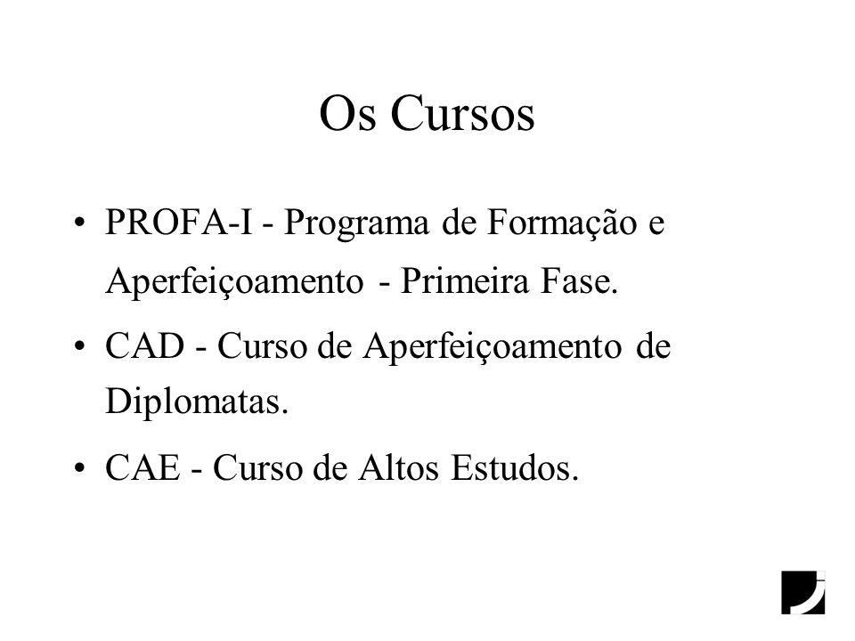Os Cursos PROFA-I - Programa de Formação e Aperfeiçoamento - Primeira Fase. CAD - Curso de Aperfeiçoamento de Diplomatas. CAE - Curso de Altos Estudos