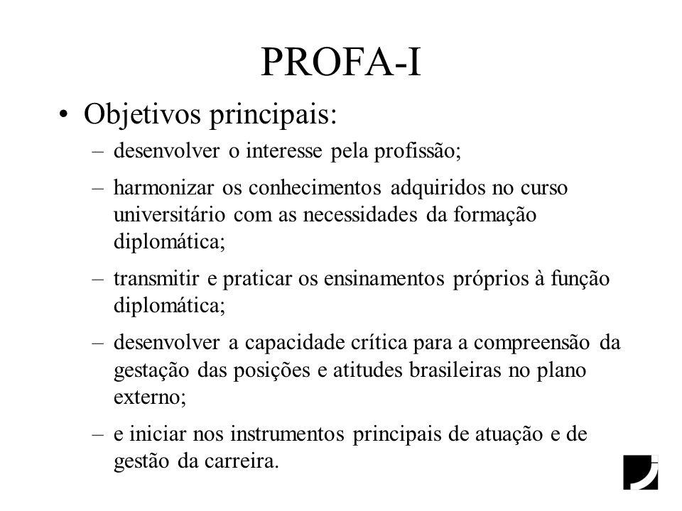 PROFA-I Objetivos principais: –desenvolver o interesse pela profissão; –harmonizar os conhecimentos adquiridos no curso universitário com as necessida