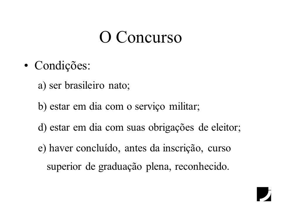 O Concurso Condições: a) ser brasileiro nato; b) estar em dia com o serviço militar; d) estar em dia com suas obrigações de eleitor; e) haver concluíd