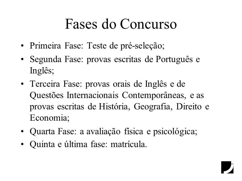 Fases do Concurso Primeira Fase: Teste de pré-seleção; Segunda Fase: provas escritas de Português e Inglês; Terceira Fase: provas orais de Inglês e de