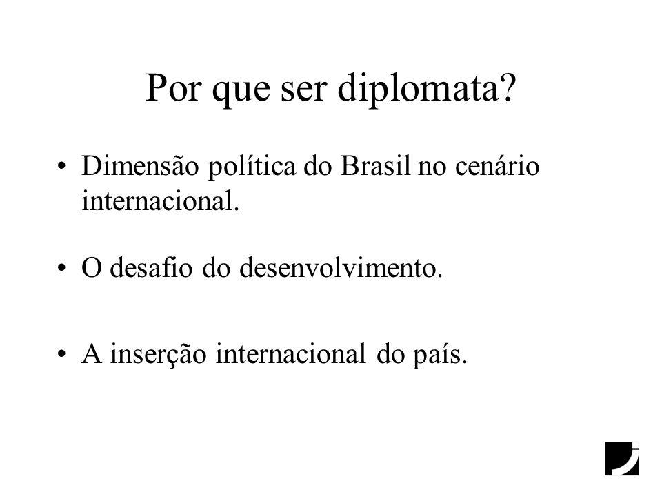 Por que ser diplomata? Dimensão política do Brasil no cenário internacional. O desafio do desenvolvimento. A inserção internacional do país.