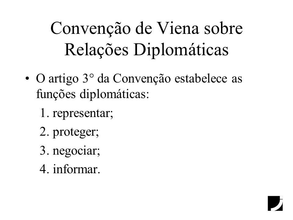 Convenção de Viena sobre Relações Diplomáticas O artigo 3° da Convenção estabelece as funções diplomáticas: 1. representar; 2. proteger; 3. negociar;