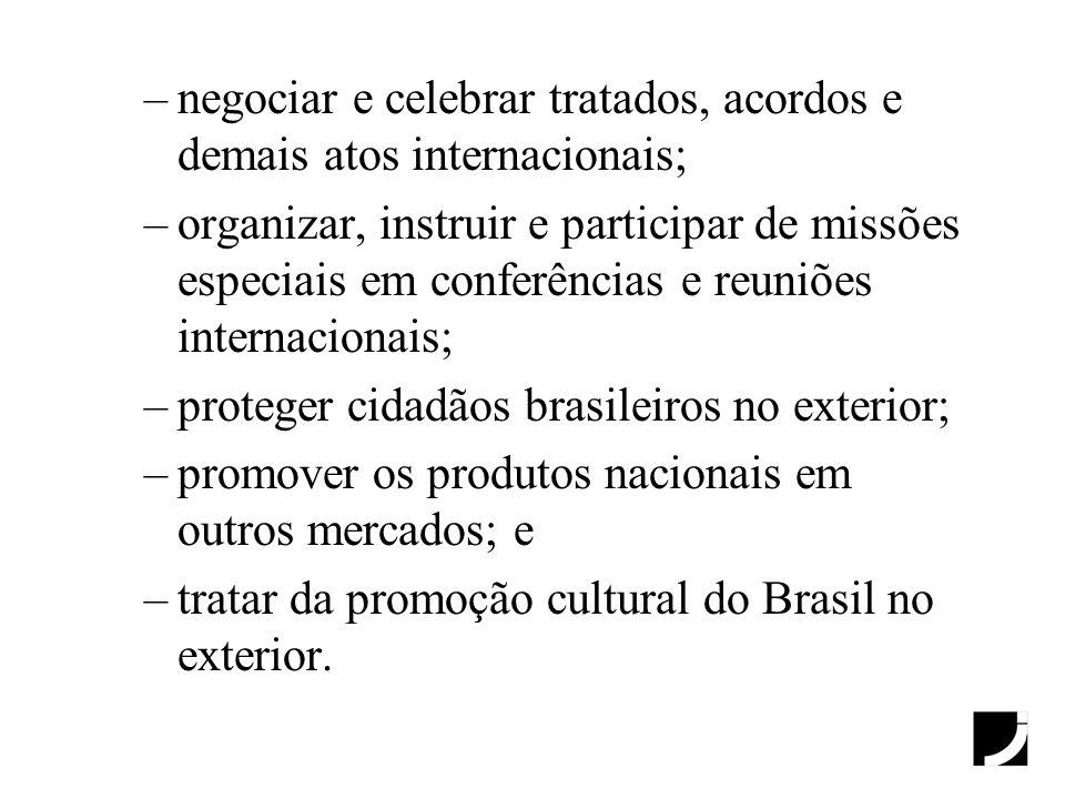 –negociar e celebrar tratados, acordos e demais atos internacionais; –organizar, instruir e participar de missões especiais em conferências e reuniões