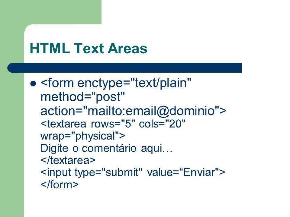 HTML Text Areas Digite o comentário aqui…