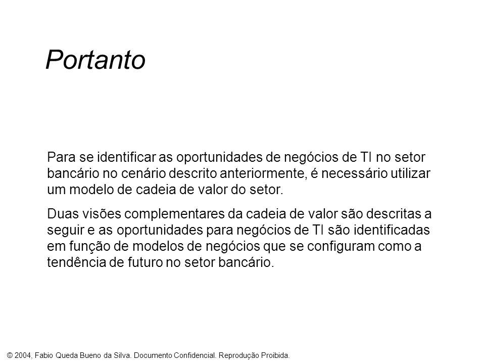 © 2004, Fabio Queda Bueno da Silva. Documento Confidencial. Reprodução Proibida. Portanto Para se identificar as oportunidades de negócios de TI no se