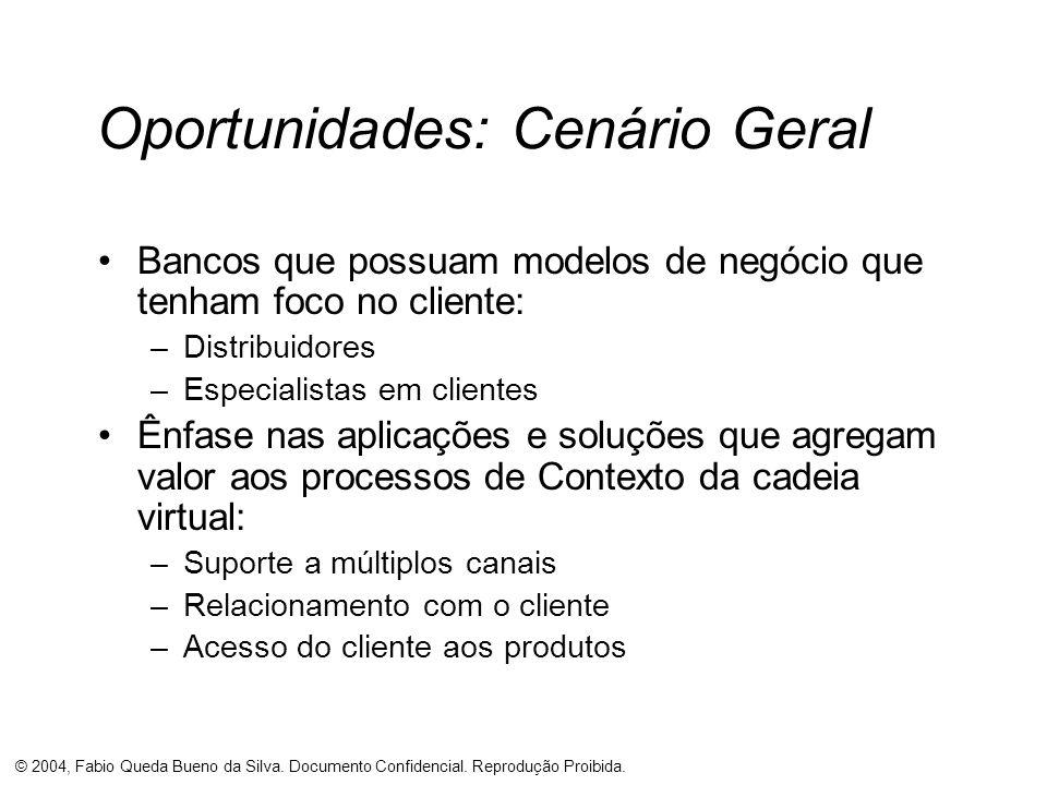© 2004, Fabio Queda Bueno da Silva. Documento Confidencial. Reprodução Proibida. Oportunidades: Cenário Geral Bancos que possuam modelos de negócio qu