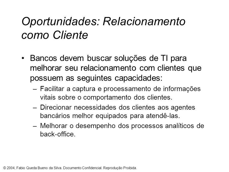 © 2004, Fabio Queda Bueno da Silva. Documento Confidencial. Reprodução Proibida. Oportunidades: Relacionamento como Cliente Bancos devem buscar soluçõ
