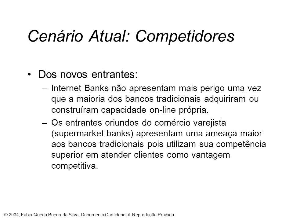© 2004, Fabio Queda Bueno da Silva. Documento Confidencial. Reprodução Proibida. Cenário Atual: Competidores Dos novos entrantes: –Internet Banks não