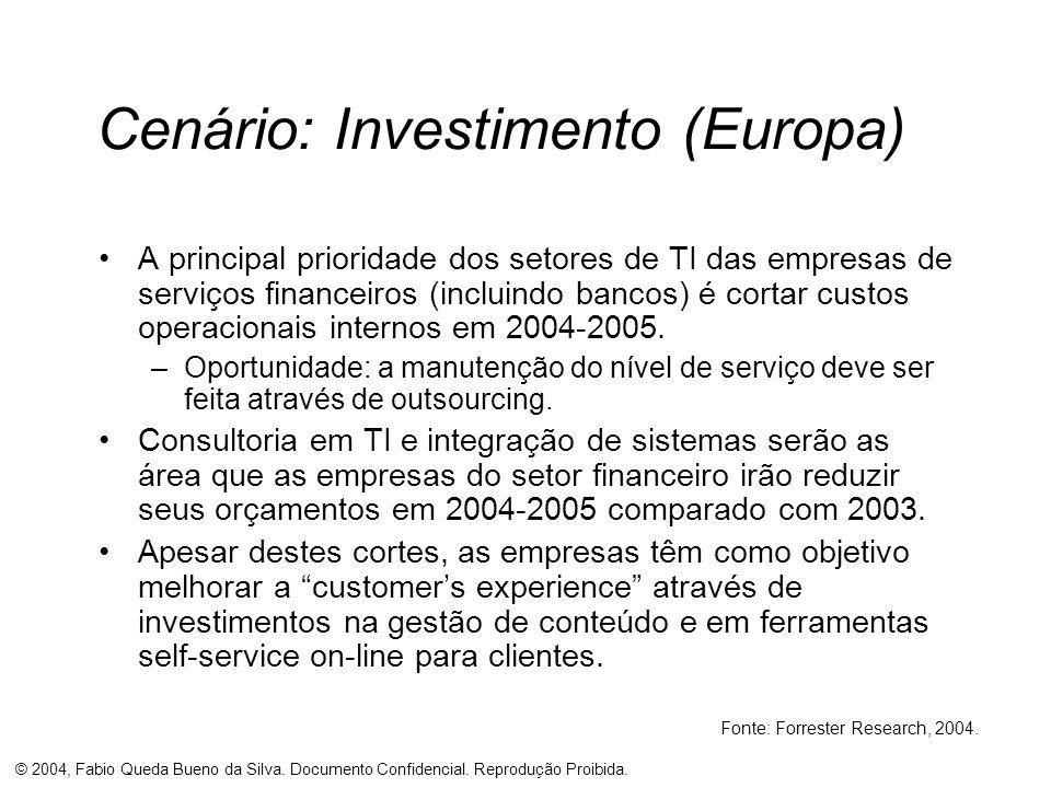 © 2004, Fabio Queda Bueno da Silva. Documento Confidencial. Reprodução Proibida. Cenário: Investimento (Europa) A principal prioridade dos setores de