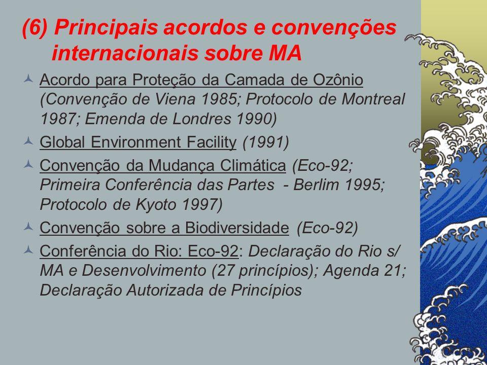 (6) Principais acordos e convenções internacionais sobre MA Acordo para Proteção da Camada de Ozônio (Convenção de Viena 1985; Protocolo de Montreal 1