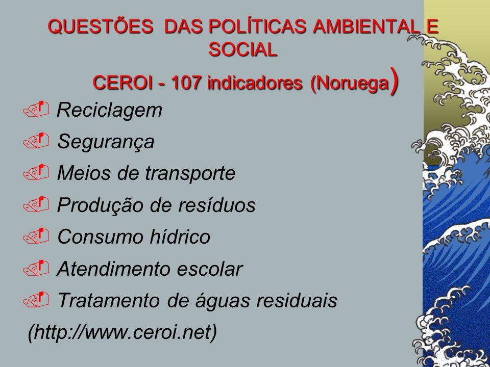 QUESTÕES DAS POLÍTICAS AMBIENTAL E SOCIAL CEROI - 107 indicadores (Noruega ) Reciclagem. Segurança. Meios de transporte. Produção de resíduos. Consumo