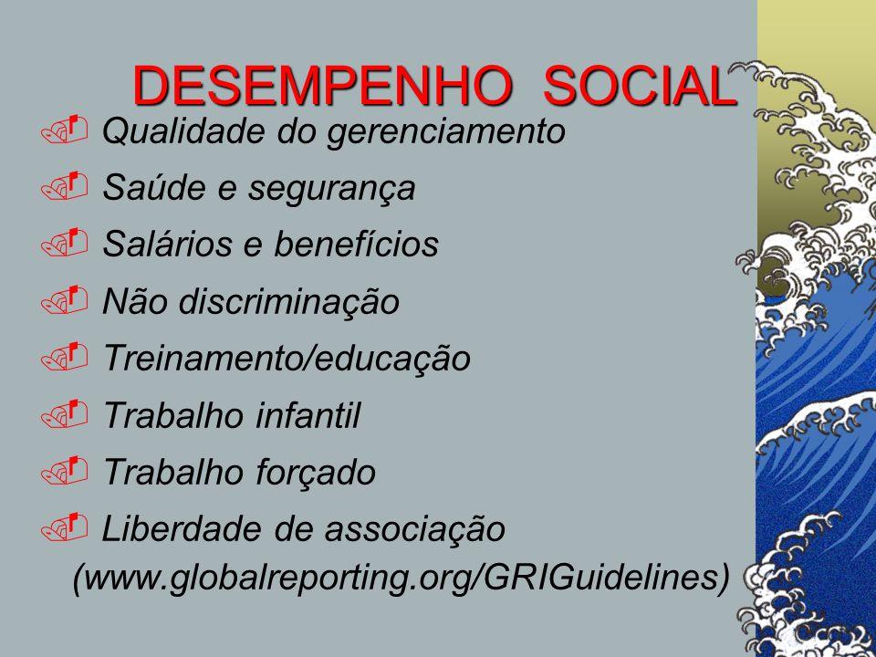 DESEMPENHO SOCIAL Qualidade do gerenciamento. Saúde e segurança. Salários e benefícios. Não discriminação. Treinamento/educação. Trabalho infantil. Tr