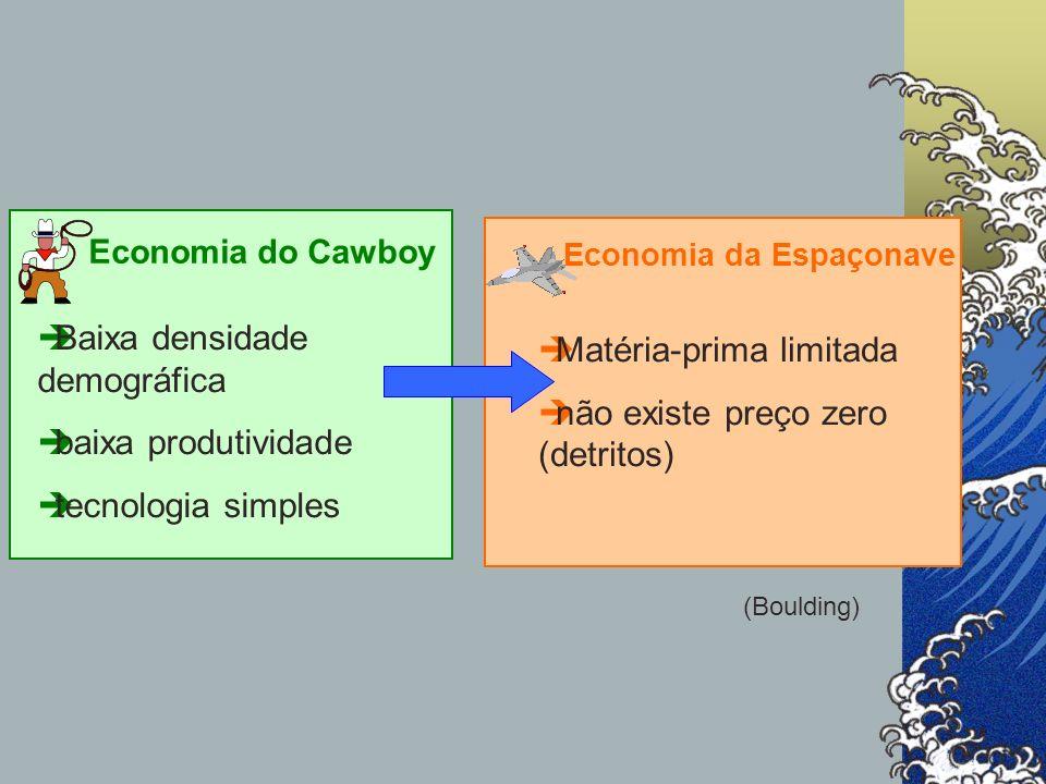 Economia do Cawboy èBaixa densidade demográfica èbaixa produtividade ètecnologia simples Economia da Espaçonave èMatéria-prima limitada ènão existe pr
