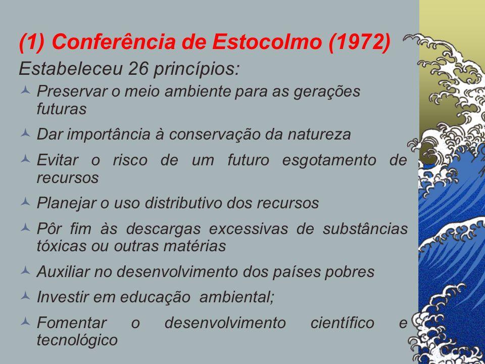 (1) Conferência de Estocolmo (1972) Estabeleceu 26 princípios: Preservar o meio ambiente para as gerações futuras Dar importância à conservação da nat