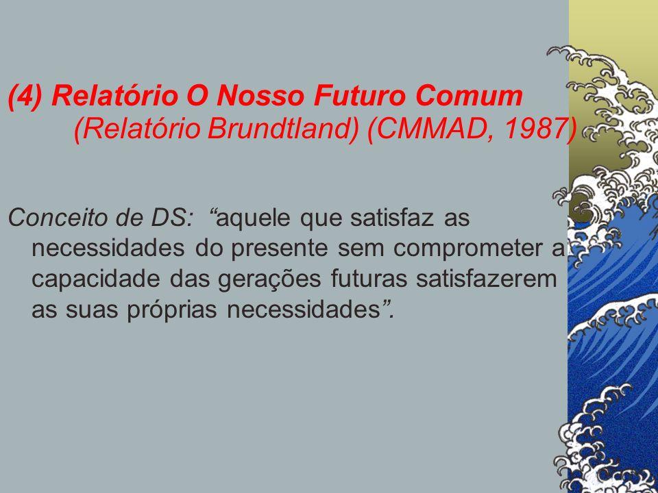 (4) Relatório O Nosso Futuro Comum (Relatório Brundtland) (CMMAD, 1987) Conceito de DS: aquele que satisfaz as necessidades do presente sem compromete