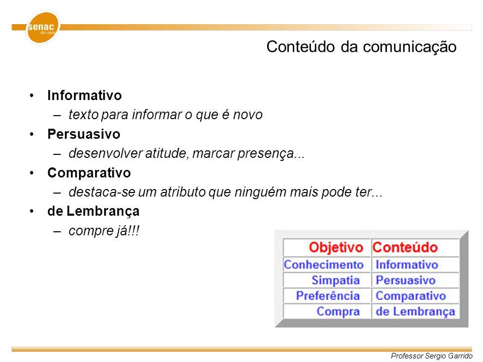 Professor Sergio Garrido Conteúdo da comunicação Informativo –texto para informar o que é novo Persuasivo –desenvolver atitude, marcar presença... Com