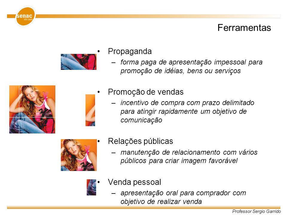 Professor Sergio Garrido Ferramentas Propaganda –forma paga de apresentação impessoal para promoção de idéias, bens ou serviços Promoção de vendas –in