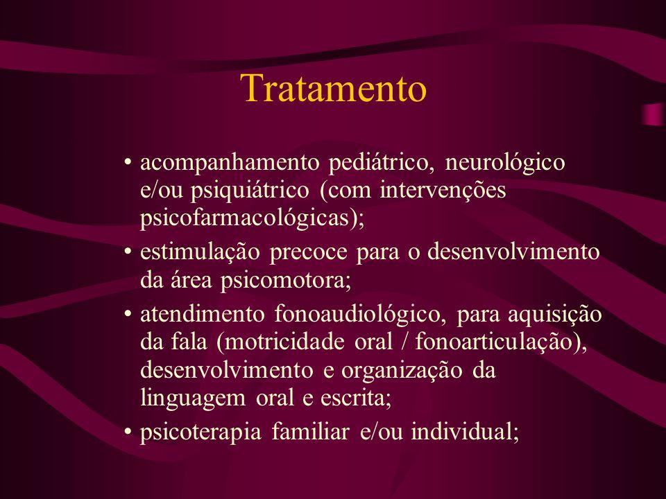 Tratamento acompanhamento pediátrico, neurológico e/ou psiquiátrico (com intervenções psicofarmacológicas); estimulação precoce para o desenvolvimento