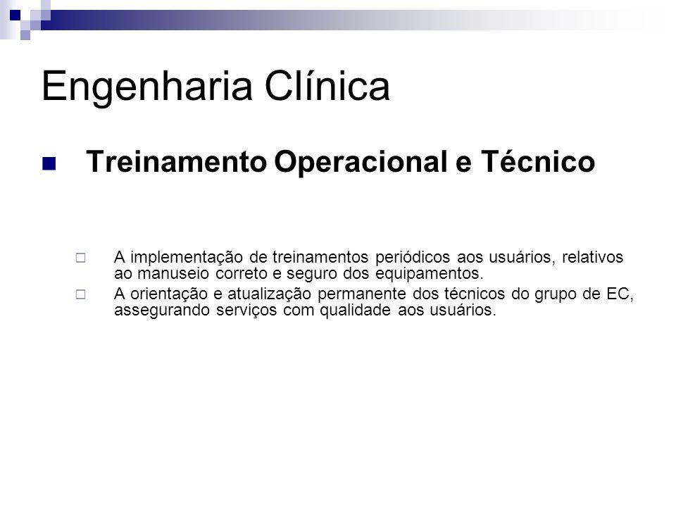 Engenharia Clínica Treinamento Operacional e Técnico A implementação de treinamentos periódicos aos usuários, relativos ao manuseio correto e seguro d