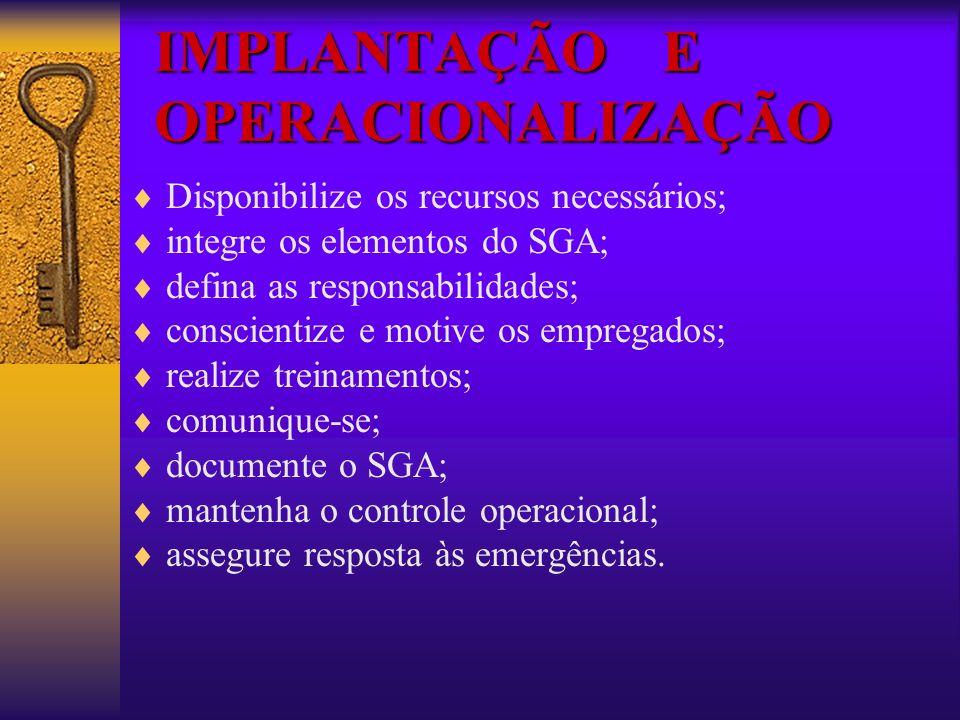 IMPLANTAÇÃO E OPERACIONALIZAÇÃO Disponibilize os recursos necessários; integre os elementos do SGA; defina as responsabilidades; conscientize e motive