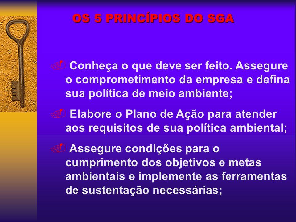 OS 5 PRINCÍPIOS DO SGA Conheça o que deve ser feito. Assegure o comprometimento da empresa e defina sua política de meio ambiente;. Elabore o Plano de