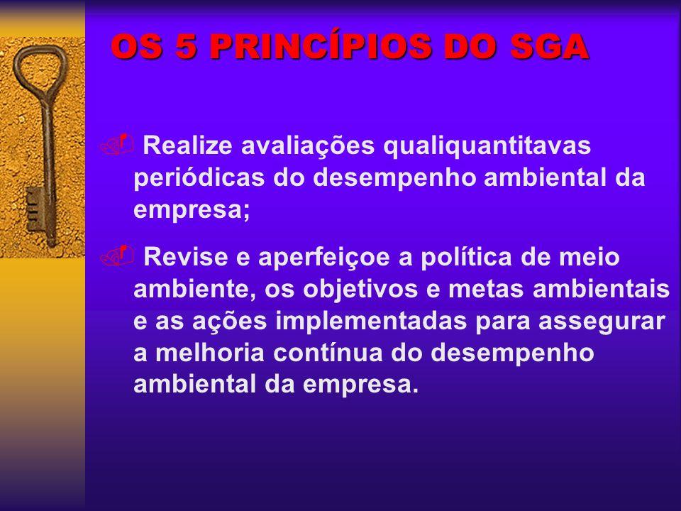 OS 5 PRINCÍPIOS DO SGA Realize avaliações qualiquantitavas periódicas do desempenho ambiental da empresa;. Revise e aperfeiçoe a política de meio ambi