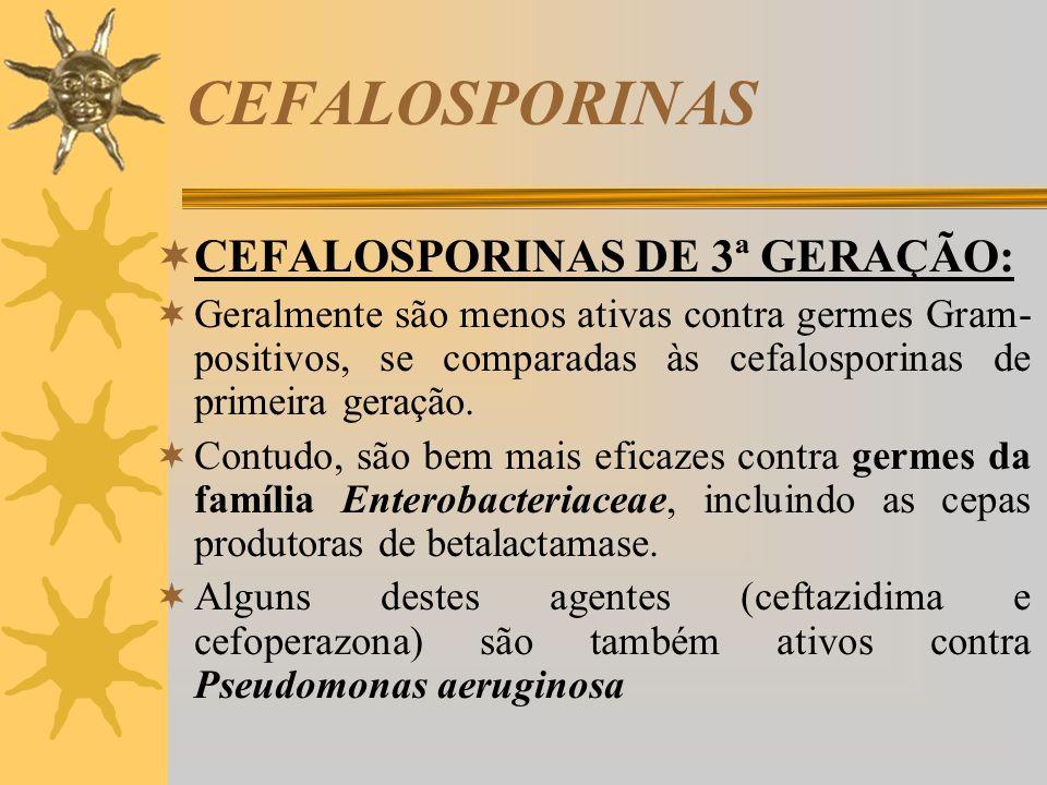 CEFALOSPORINAS CEFALOSPORINAS DE 3ª GERAÇÃO: Geralmente são menos ativas contra germes Gram- positivos, se comparadas às cefalosporinas de primeira ge