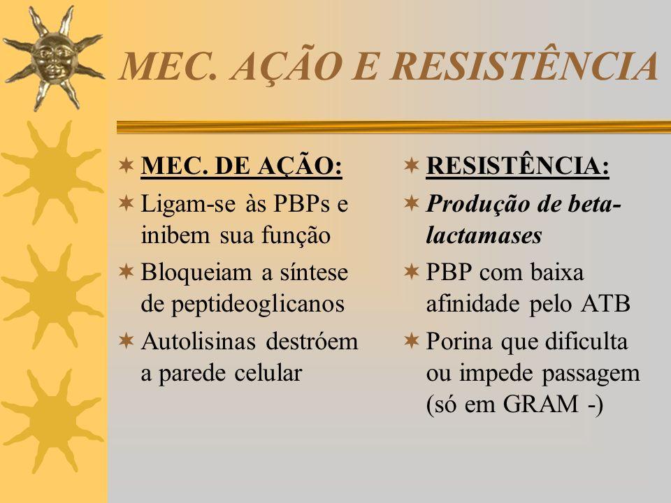 PENICILINAS PNC G: Cristalina (IV), Procaína (IM), Benzatina (IM Liberação lenta) - via parenteral PNC V: Única diferença – via oral AMINOPENICILINAS: Ampicilina e Amoxicilina PENICILINASE RESISTENTES: Oxacilina CARBOXIPENICILINAS: Ticarcilina UREIDOPENICILINAS: Piperacilina