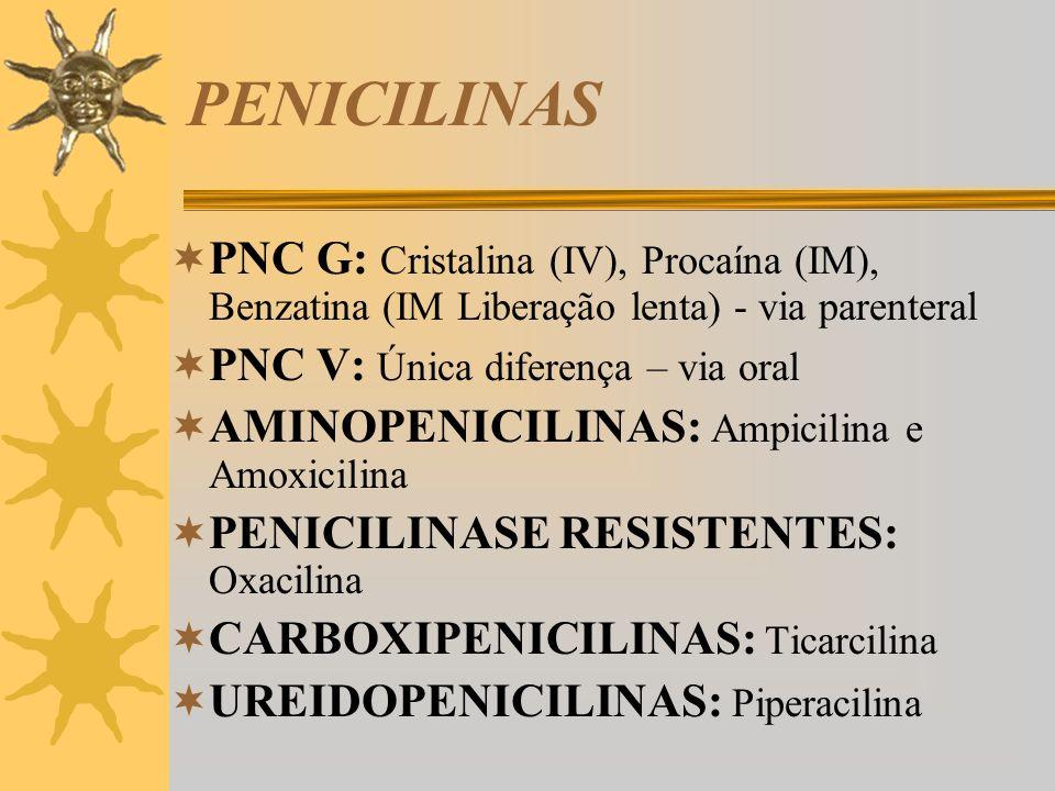 PENICILINAS PNC G e V usos clínicos: PNC G é o fármaco de escolha para pneumo, estrepto, meningo, estafilo e gonococos não produtores de beta- lactamases, usados em ifecções por espiroquetas e anaeróbios da boca e orofaringe (mas não o B.