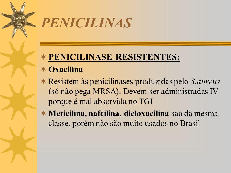 PENICILINAS PENICILINASE RESISTENTES: Oxacilina Resistem às penicilinases produzidas pelo S.aureus (só não pega MRSA). Devem ser administradas IV porq