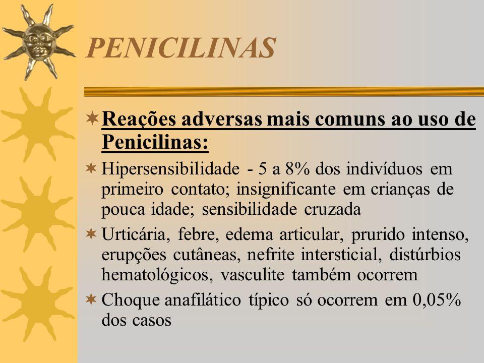 PENICILINAS Reações adversas mais comuns ao uso de Penicilinas: Hipersensibilidade - 5 a 8% dos indivíduos em primeiro contato; insignificante em cria