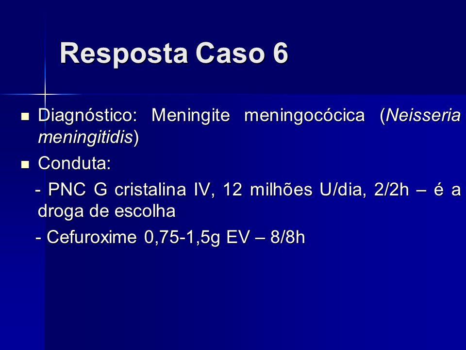 Resposta Caso 6 Diagnóstico: Meningite meningocócica (Neisseria meningitidis) Diagnóstico: Meningite meningocócica (Neisseria meningitidis) Conduta: C
