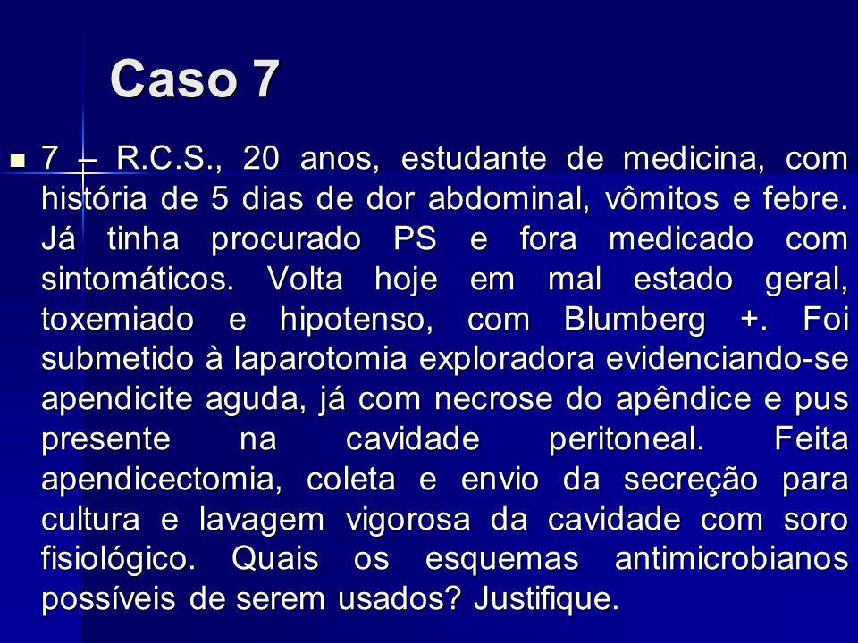 Caso 7 7 – R.C.S., 20 anos, estudante de medicina, com história de 5 dias de dor abdominal, vômitos e febre. Já tinha procurado PS e fora medicado com