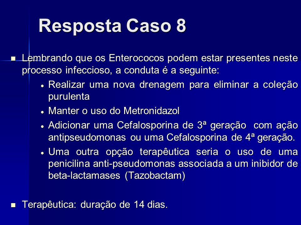 Resposta Caso 8 Lembrando que os Enterococos podem estar presentes neste processo infeccioso, a conduta é a seguinte: Lembrando que os Enterococos pod