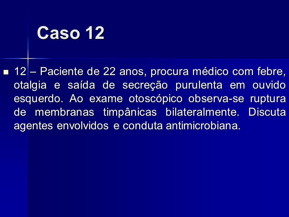 Caso 12 12 – Paciente de 22 anos, procura médico com febre, otalgia e saída de secreção purulenta em ouvido esquerdo. Ao exame otoscópico observa-se r