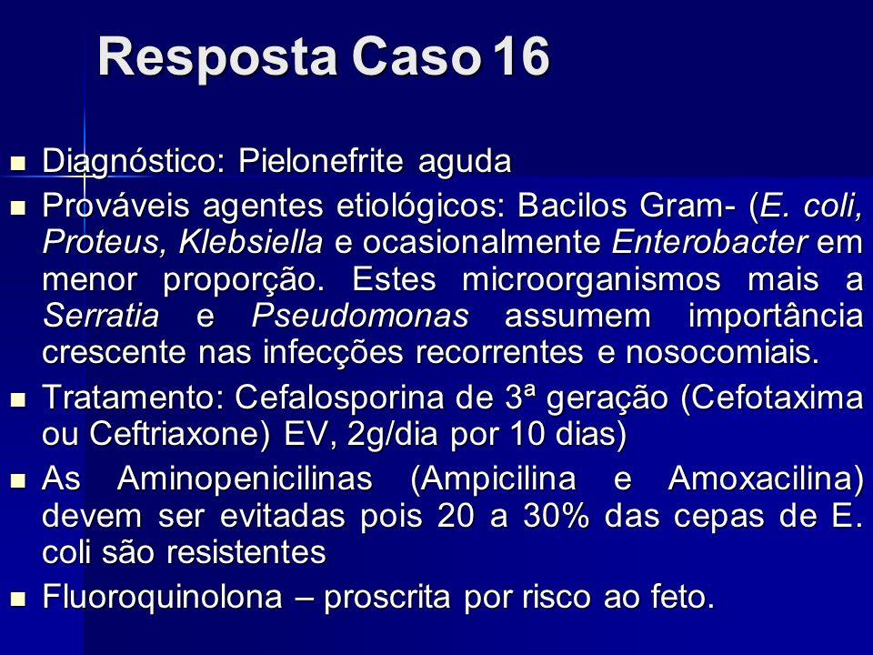 Resposta Caso 16 Diagnóstico: Pielonefrite aguda Diagnóstico: Pielonefrite aguda Prováveis agentes etiológicos: Bacilos Gram- (E. coli, Proteus, Klebs