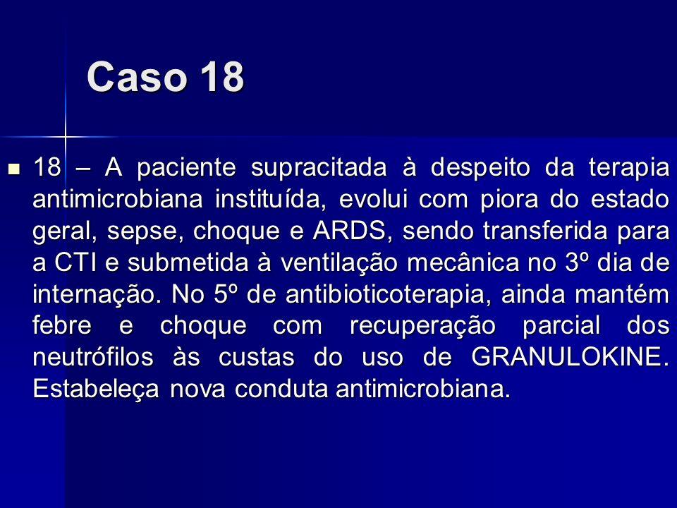 Caso 18 18 – A paciente supracitada à despeito da terapia antimicrobiana instituída, evolui com piora do estado geral, sepse, choque e ARDS, sendo tra