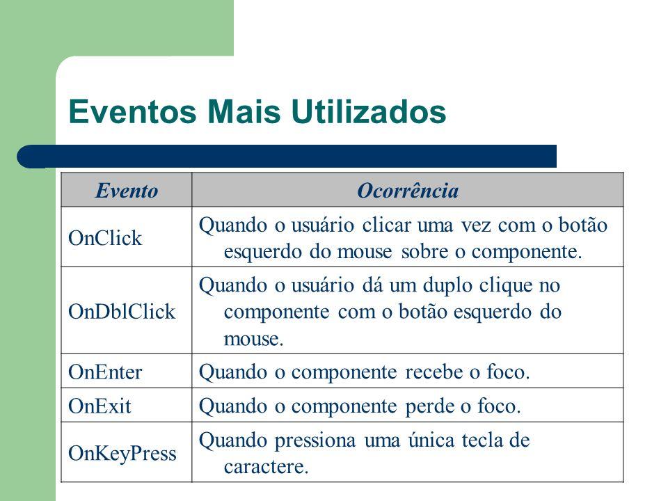 Eventos Mais Utilizados EventoOcorrência OnClick Quando o usuário clicar uma vez com o botão esquerdo do mouse sobre o componente. OnDblClick Quando o