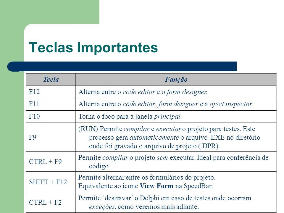 Teclas Importantes TeclaFunção F12Alterna entre o code editor e o form designer. F11Alterna entre o code editor, form designer e a oject inspector. F1