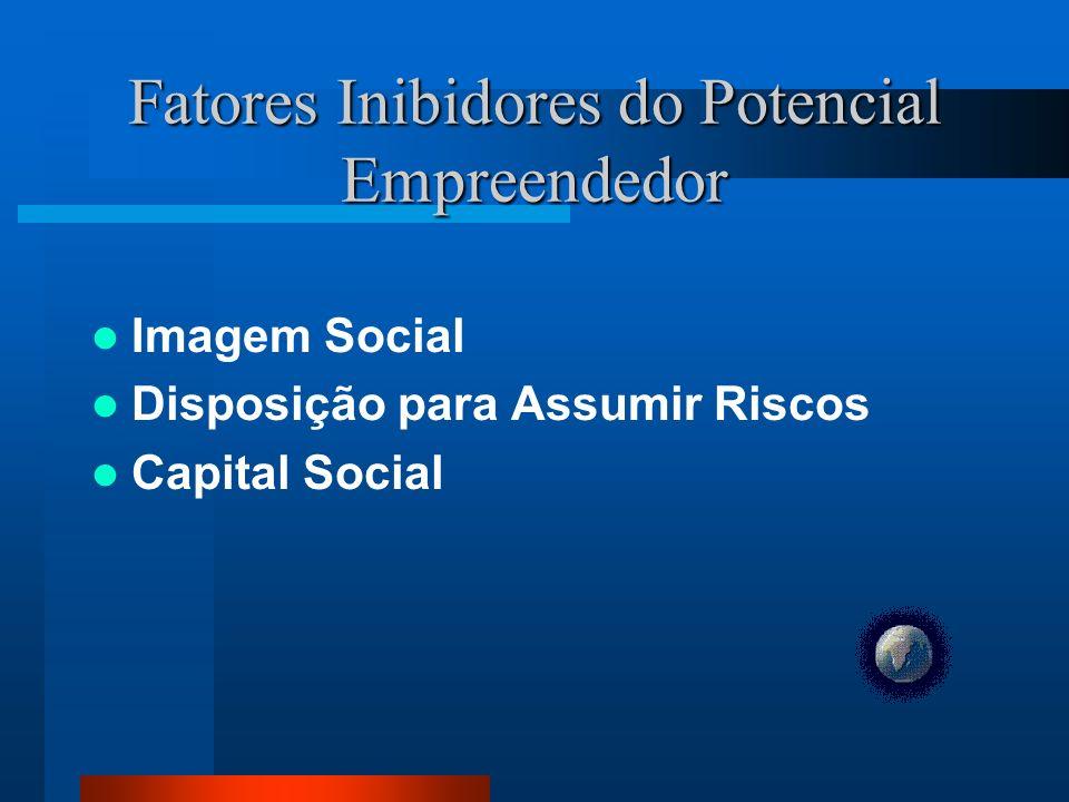 Fatores Inibidores do Potencial Empreendedor Imagem Social Disposição para Assumir Riscos Capital Social