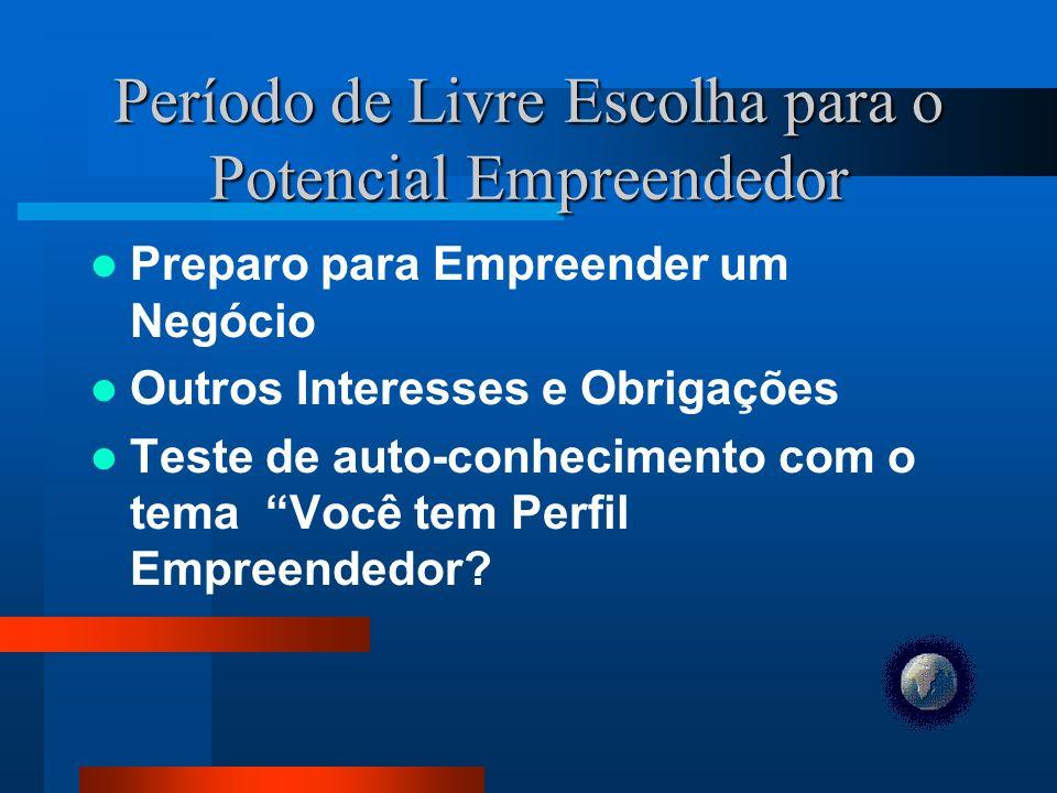 Período de Livre Escolha para o Potencial Empreendedor Preparo para Empreender um Negócio Outros Interesses e Obrigações Teste de auto-conhecimento com o tema Você tem Perfil Empreendedor?