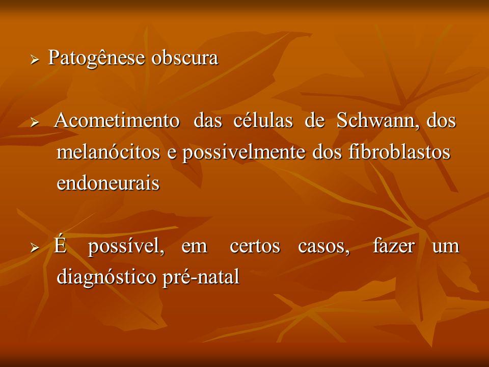 Patogênese obscura Patogênese obscura Acometimento das células de Schwann, dos Acometimento das células de Schwann, dos melanócitos e possivelmente do