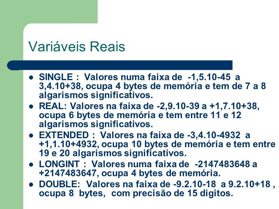 Variáveis Reais SINGLE : Valores numa faixa de -1,5.10-45 a 3,4.10+38, ocupa 4 bytes de memória e tem de 7 a 8 algarismos significativos. REAL: Valore