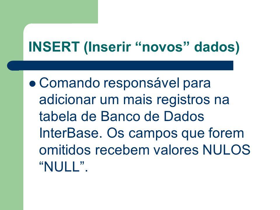 INSERT (Inserir novos dados) INSERT INTO TABELA (CAMPO1,CAMPO2,...) VALUES (VALOR1,VALOR2,...) INSERT INTO TABELA1 SELECT * FROM TABELA2 WHERE CAMPO1 = VALOR;