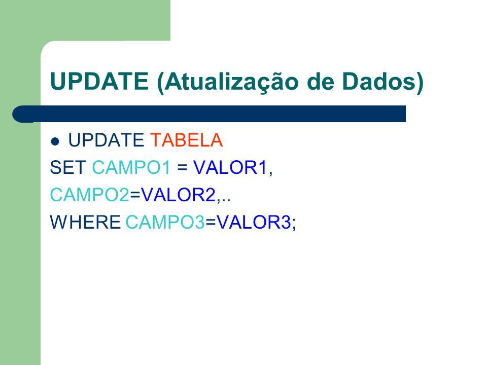 UPDATE (Atualização de Dados) UPDATE TABELA SET CAMPO1 = VALOR1, CAMPO2=VALOR2,.. WHERE CAMPO3=VALOR3;