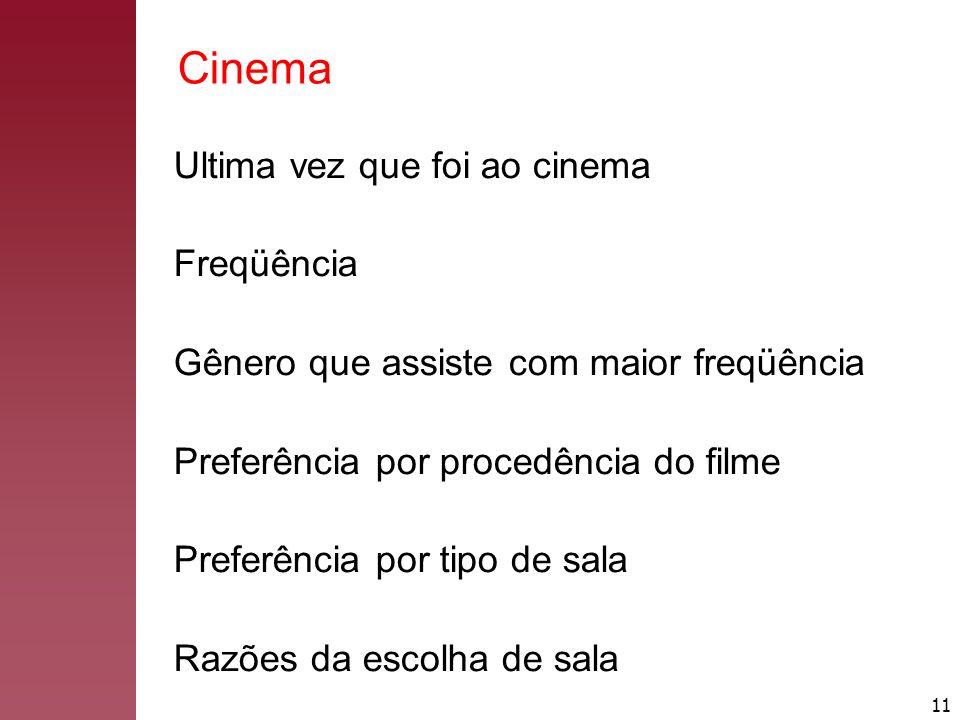 11 Cinema Ultima vez que foi ao cinema Freqüência Gênero que assiste com maior freqüência Preferência por procedência do filme Preferência por tipo de